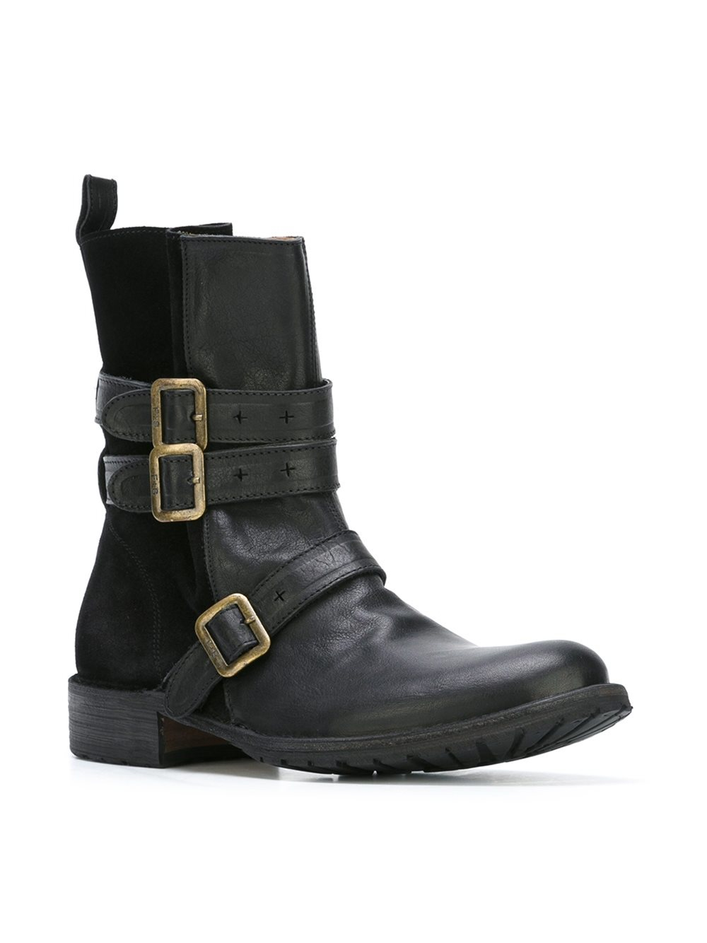 fiorentini baker leather and suede boots in black lyst
