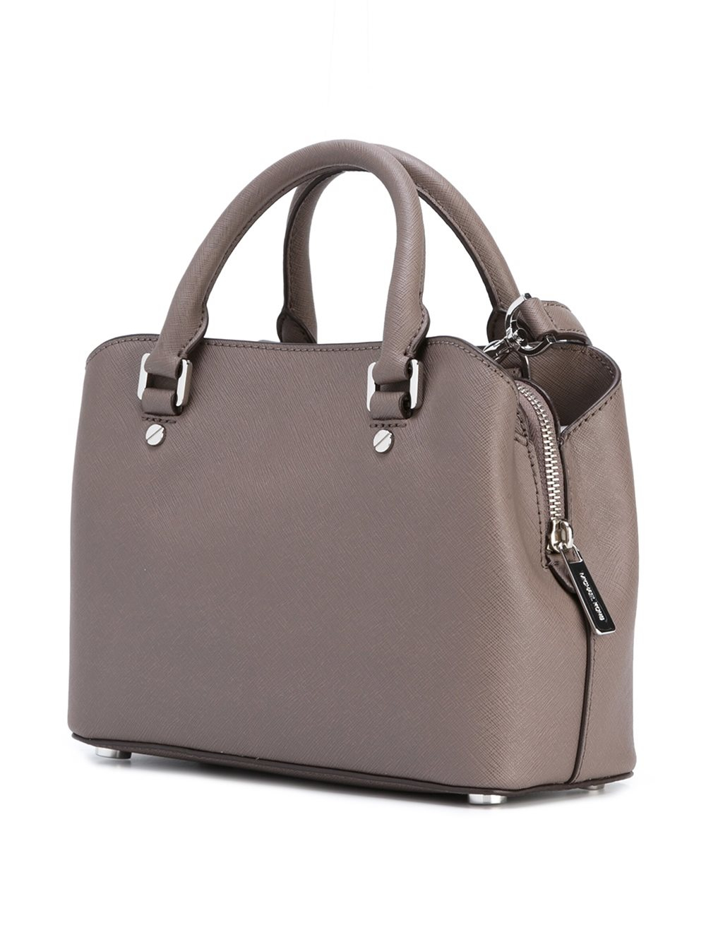 MICHAEL Michael Kors Leather Small Boxy Zipped Tote in Grey (Grey)