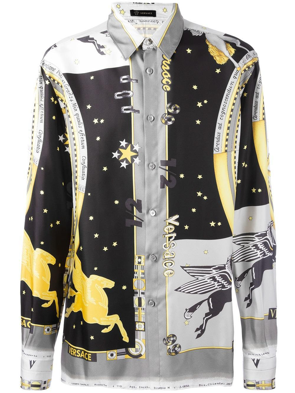 versace astrological print shirt in blue for men lyst. Black Bedroom Furniture Sets. Home Design Ideas