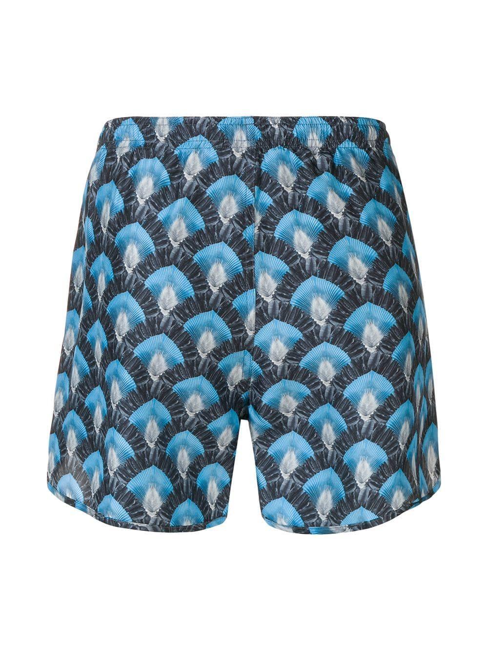 Neil Barrett Zijde Zwembroek Met Print in het Blauw voor heren