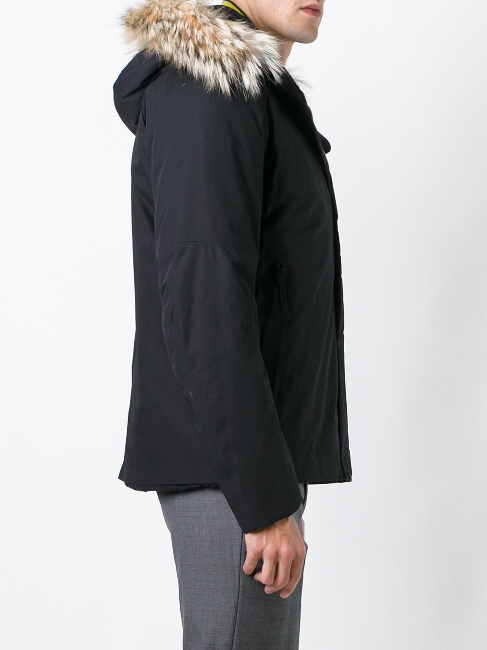 Stone Island Fur Lined Hooded Jacket in Black for Men