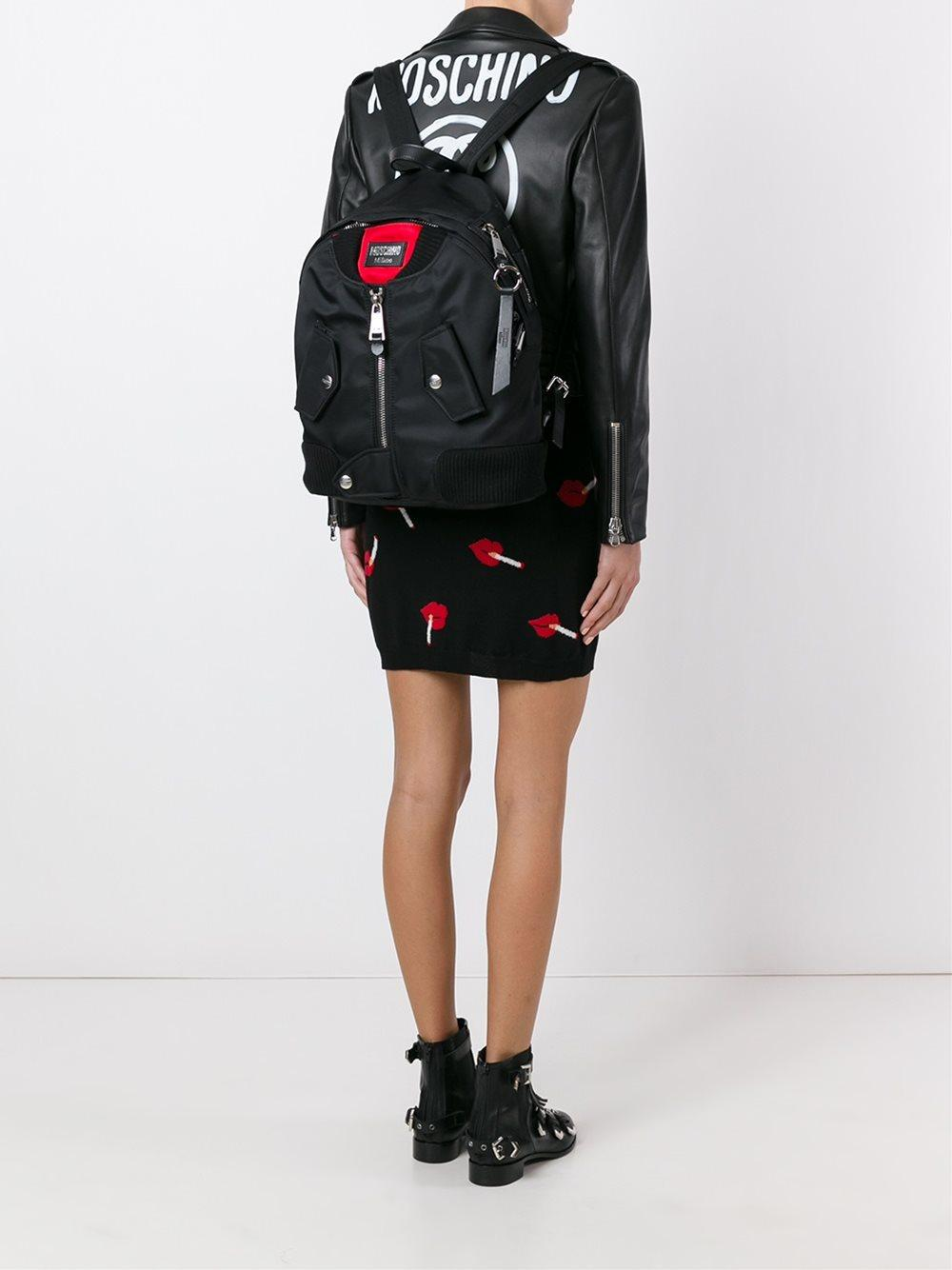 68d5af9466e5 Lyst - Moschino Bomber Jacket Effect Backpack in Black