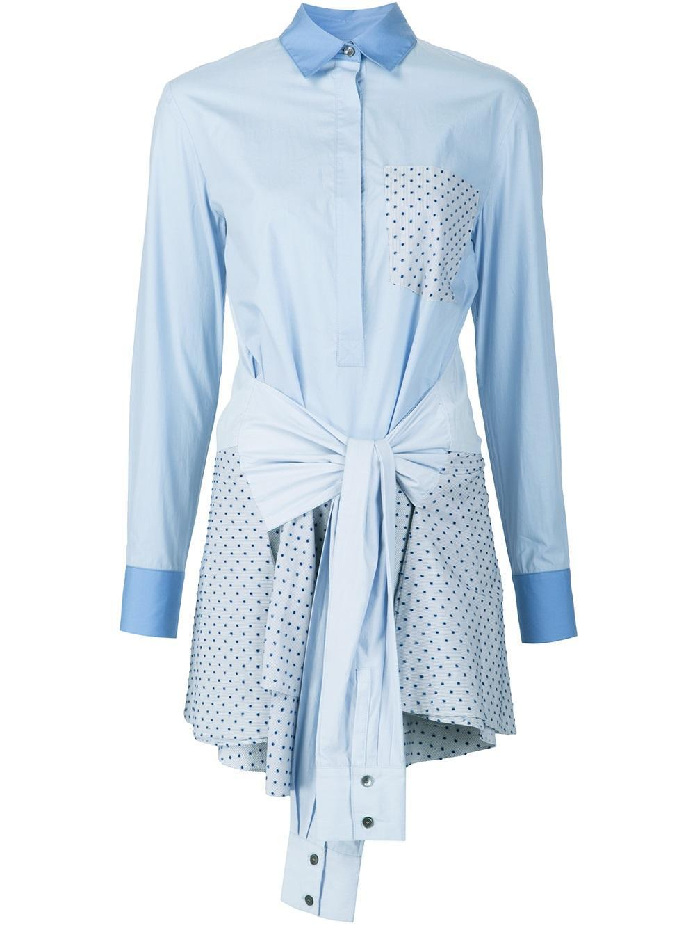 10 crosby derek lam tie waist shirt dress in blue lyst