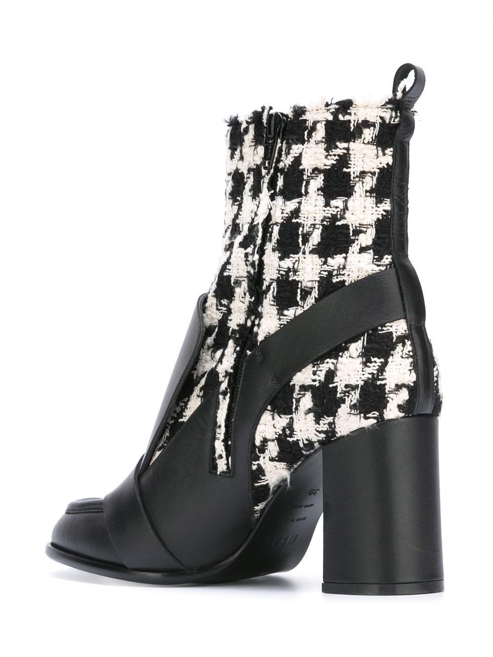 MSGM Tweed Biker Ankle Boots in Black