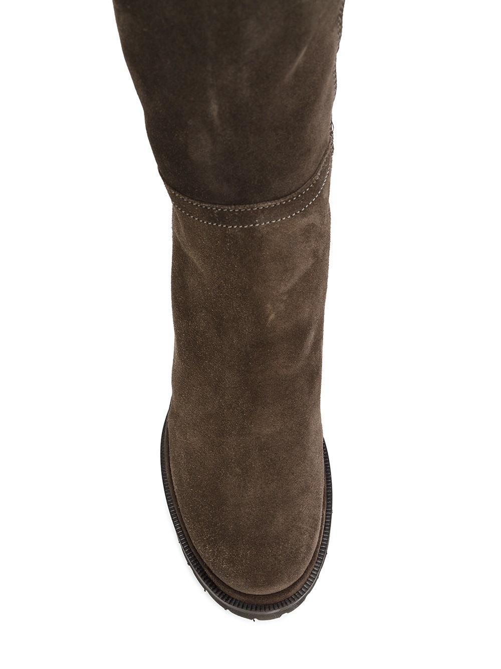 Chuckies New York Suede Wedge Knee High Boots in Brown