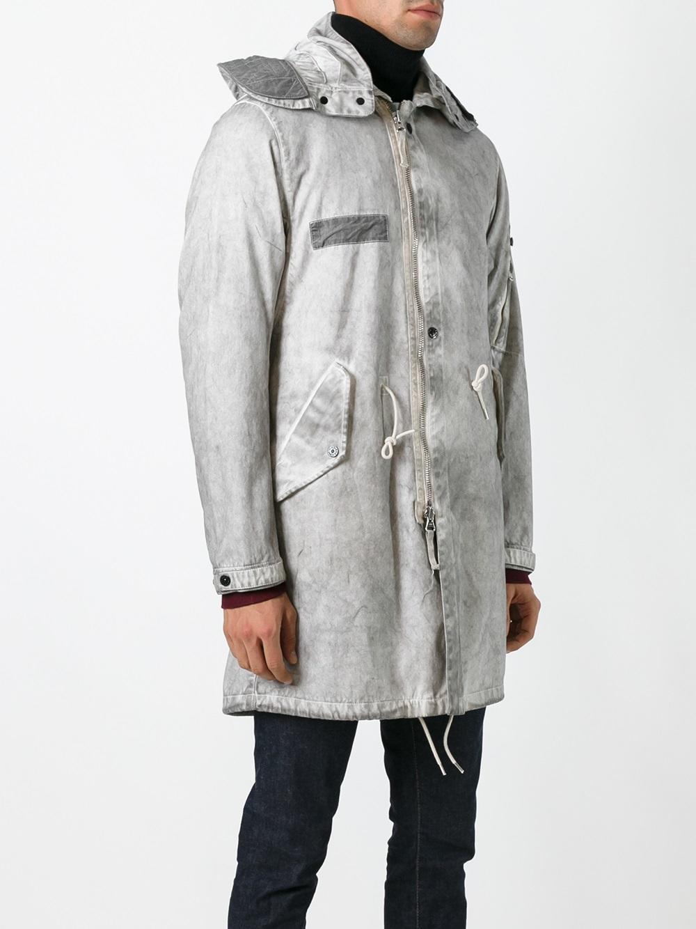 lyst stone island 39 over dyed 39 parka coat in gray for men. Black Bedroom Furniture Sets. Home Design Ideas