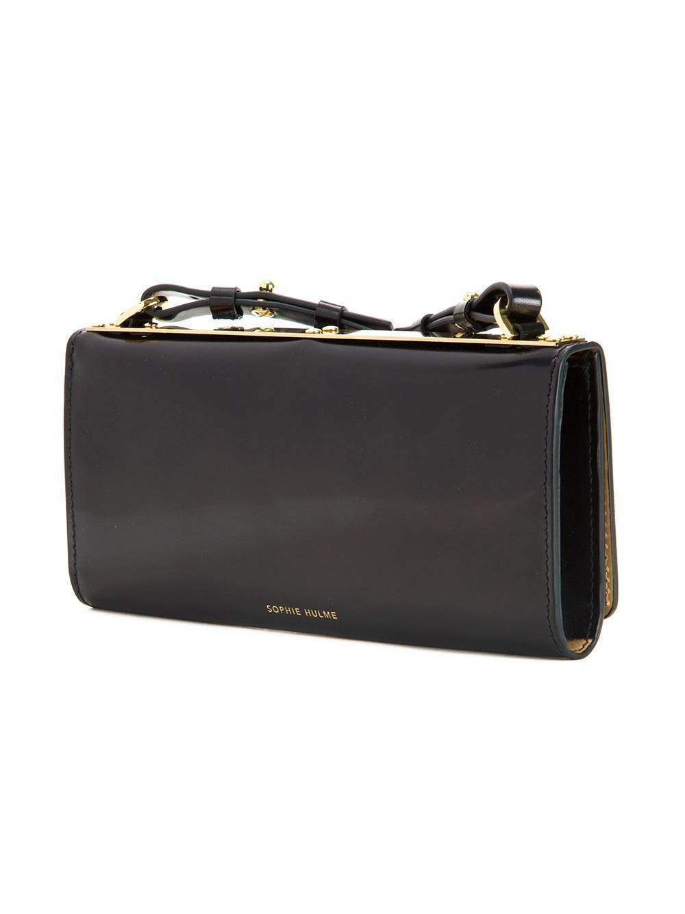 Sophie Hulme Leather Studded Crossbody Bag in Black