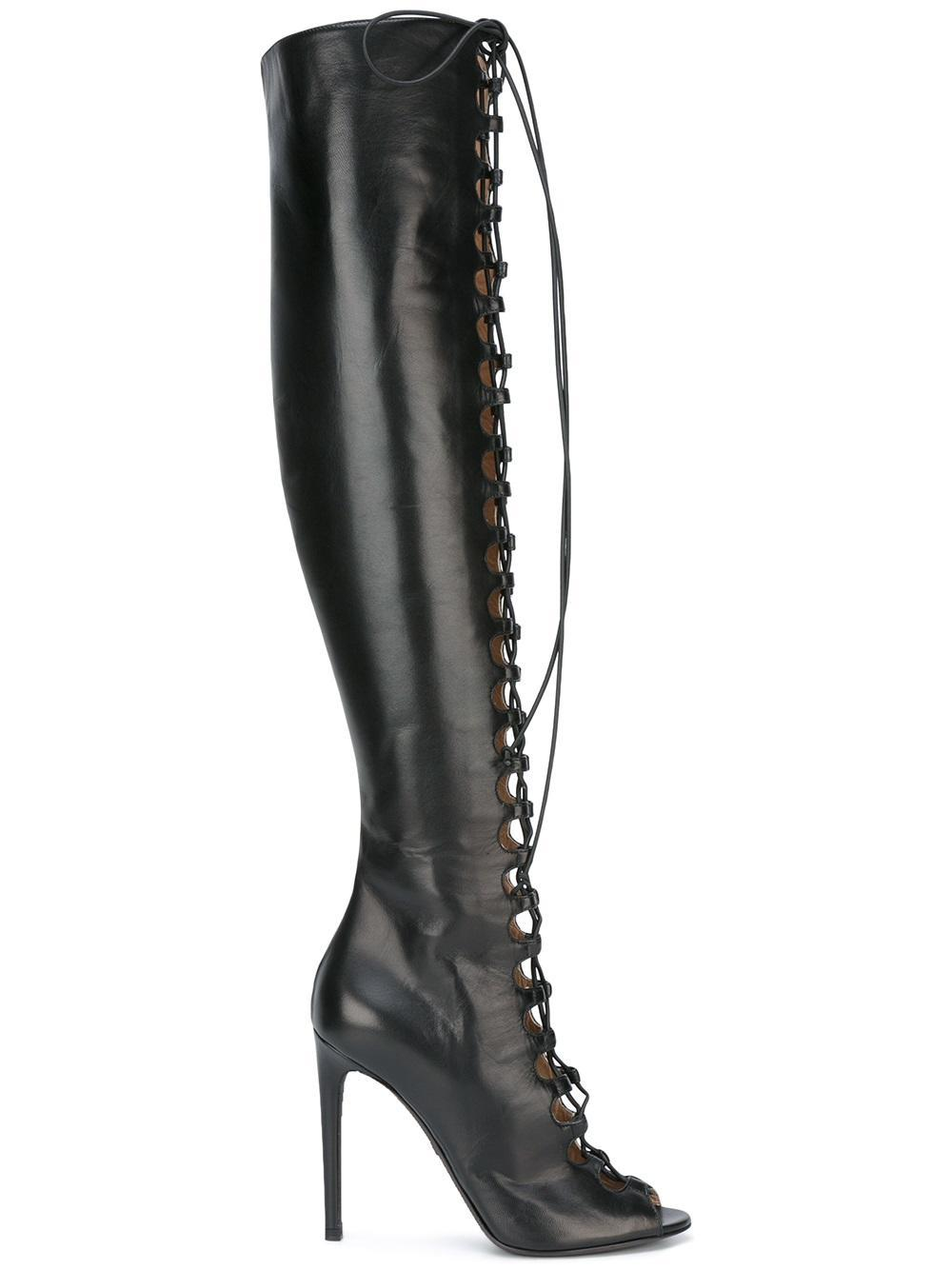 giambattista valli lace up thigh high boots in black lyst