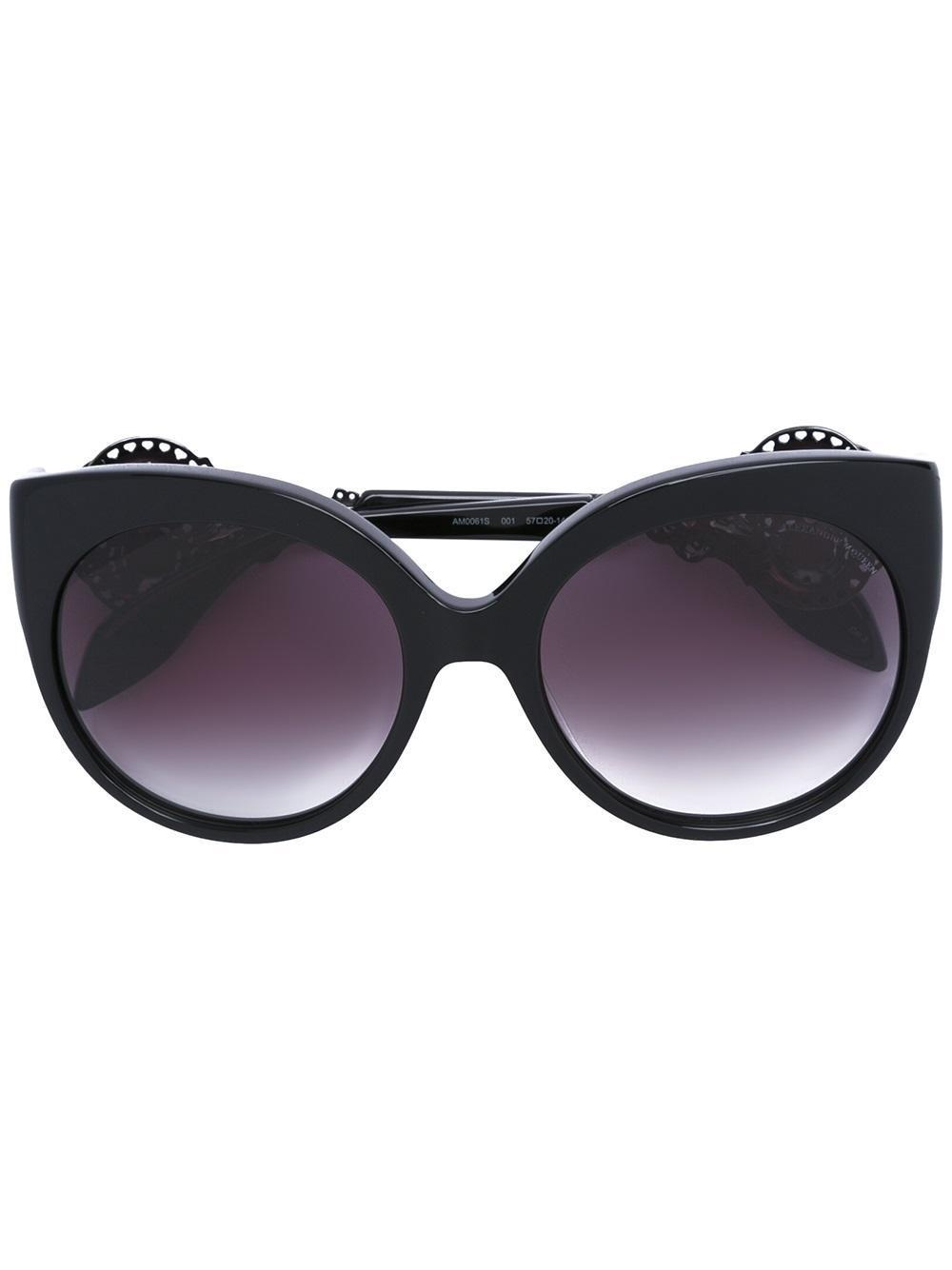 Alexander Mcqueen Embellished Cat Eye Sunglasses In Black