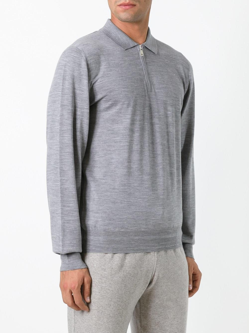 Brioni Wool Zip Up Polo Shirt in Grey (Grey) for Men