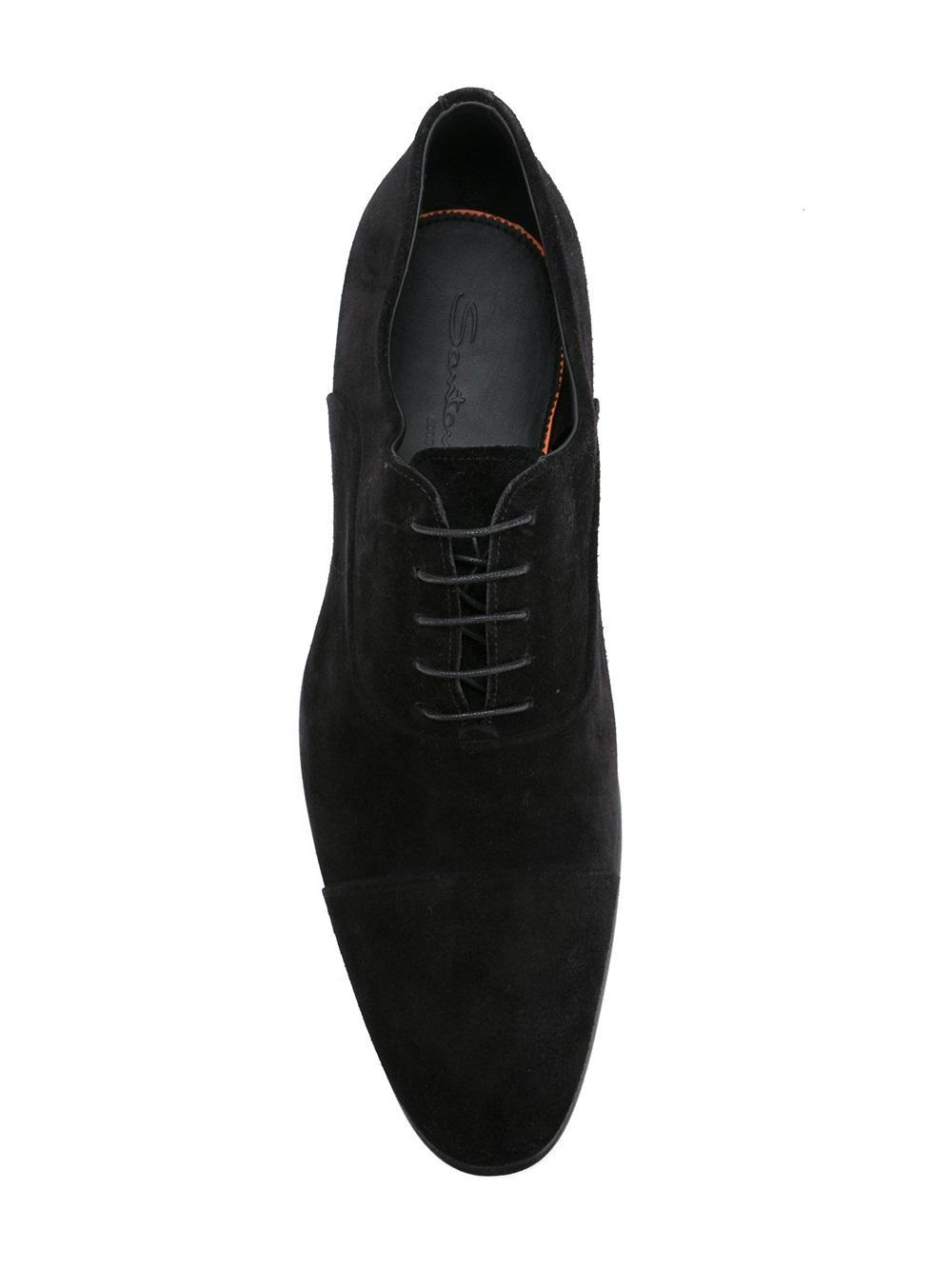 Santoni Suede Goodyear Sole Oxford Shoes in Black for Men