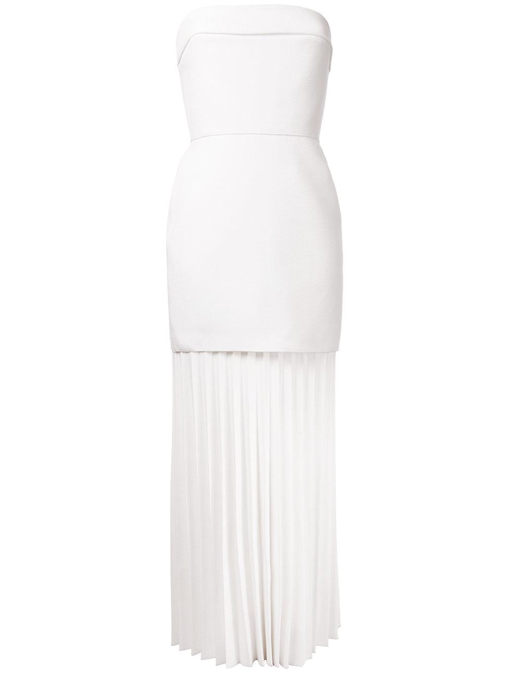 Dion lee Linear Pleated Strapless Dress in White | Lyst