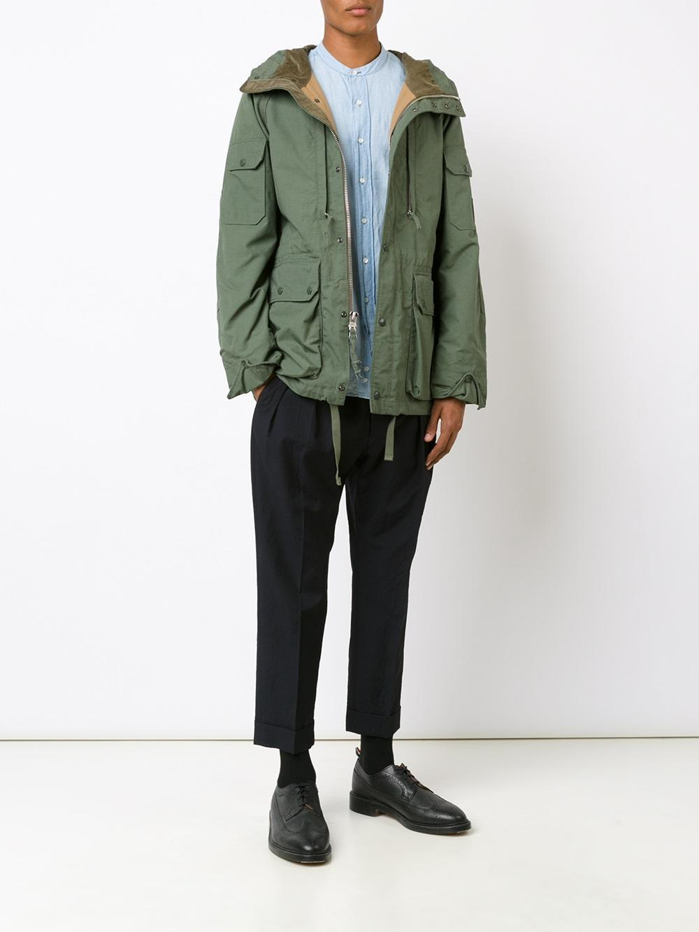 Engineered Garments Cotton Zipped Hooded Jacket in Green for Men