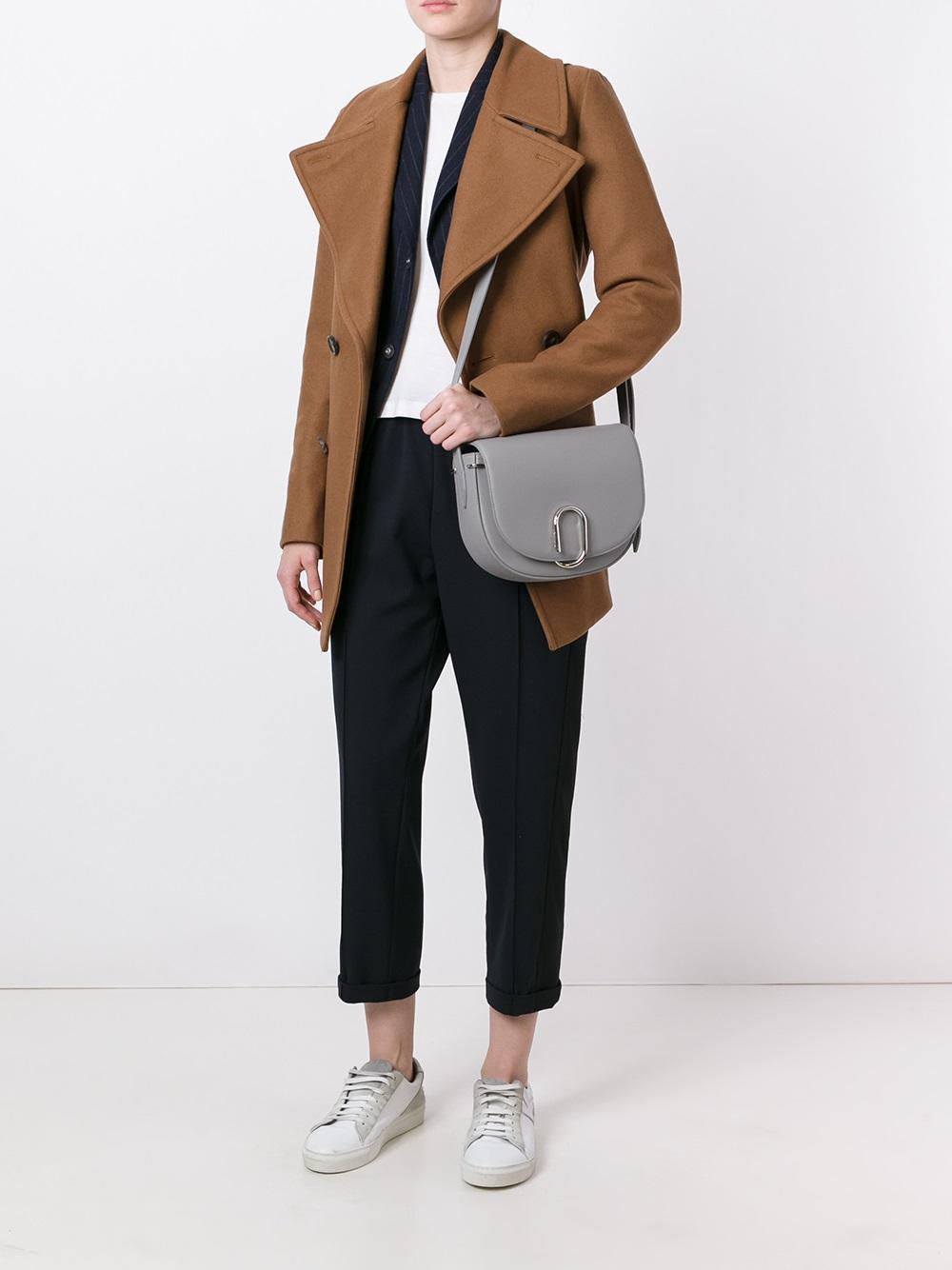 3.1 Phillip Lim Leather Alix Saddle Crossbody Bag in Grey (Grey)