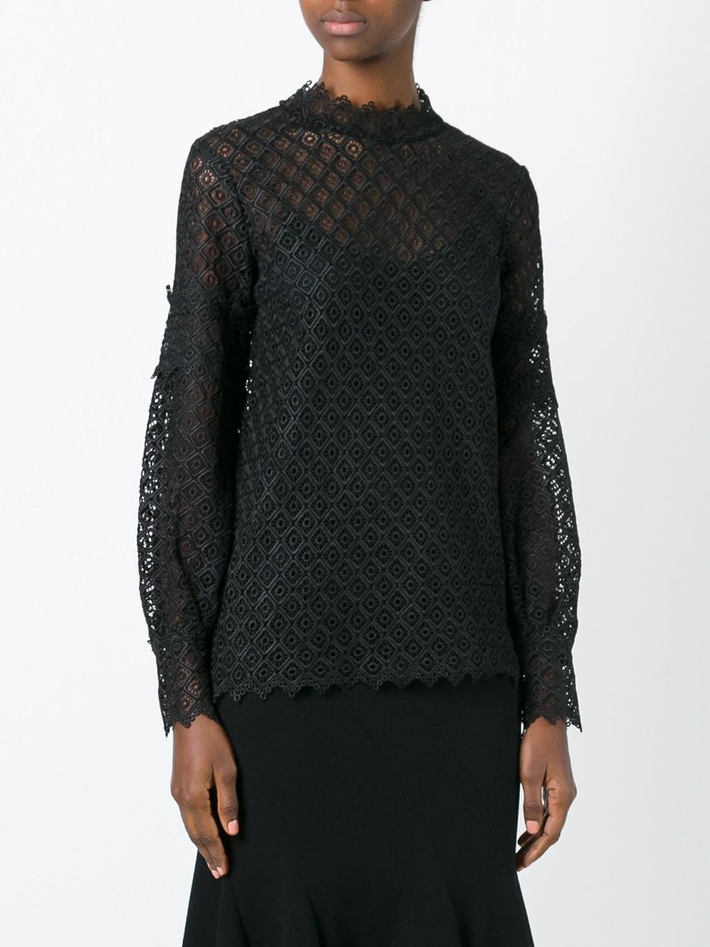 IRO Synthetic 'amia' Embroidered Top in Black