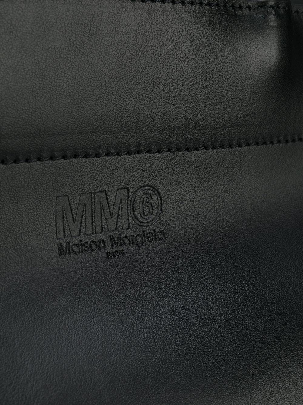 MM6 by Maison Martin Margiela Leather Alfa Tote Bag in Black