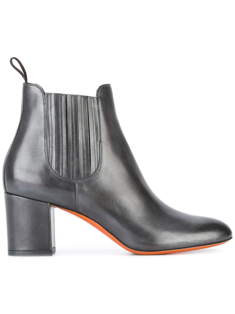 santoni chunky heel ankle boots in gray lyst