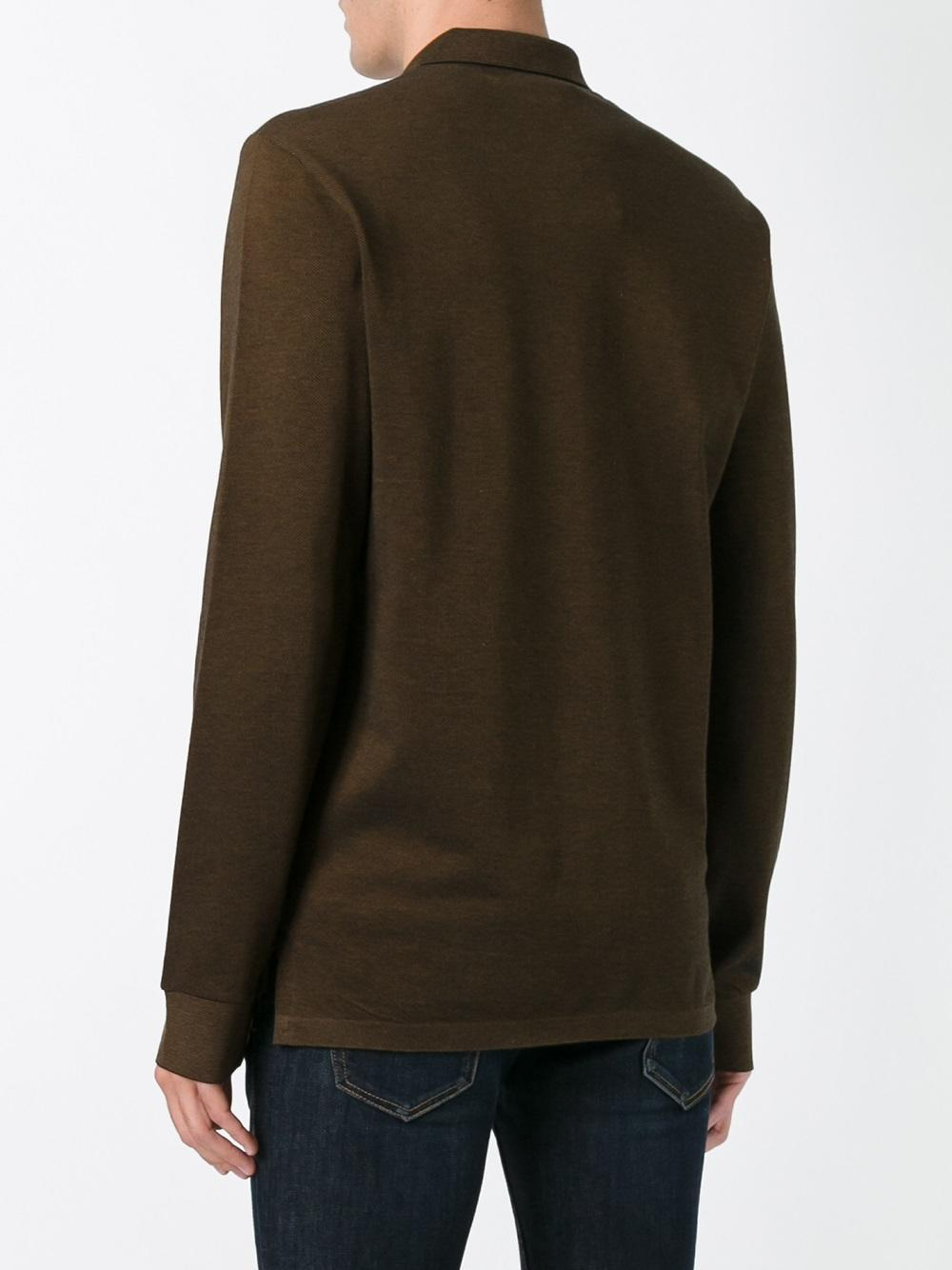 Lyst Lacoste Long Sleeve Polo Shirt In Brown For Men