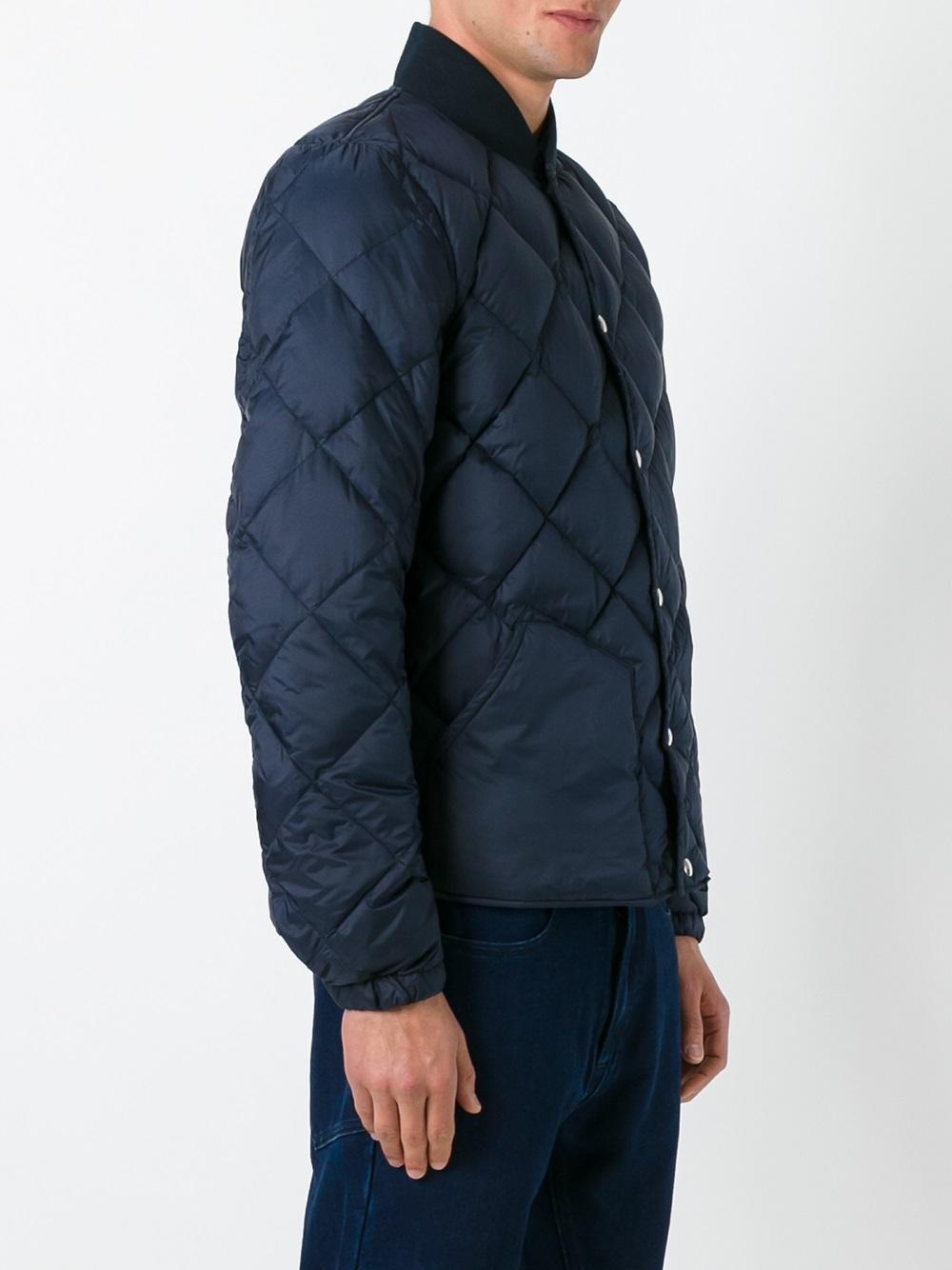 Bellerose Cotton Padded Bomber Jacket in Blue for Men