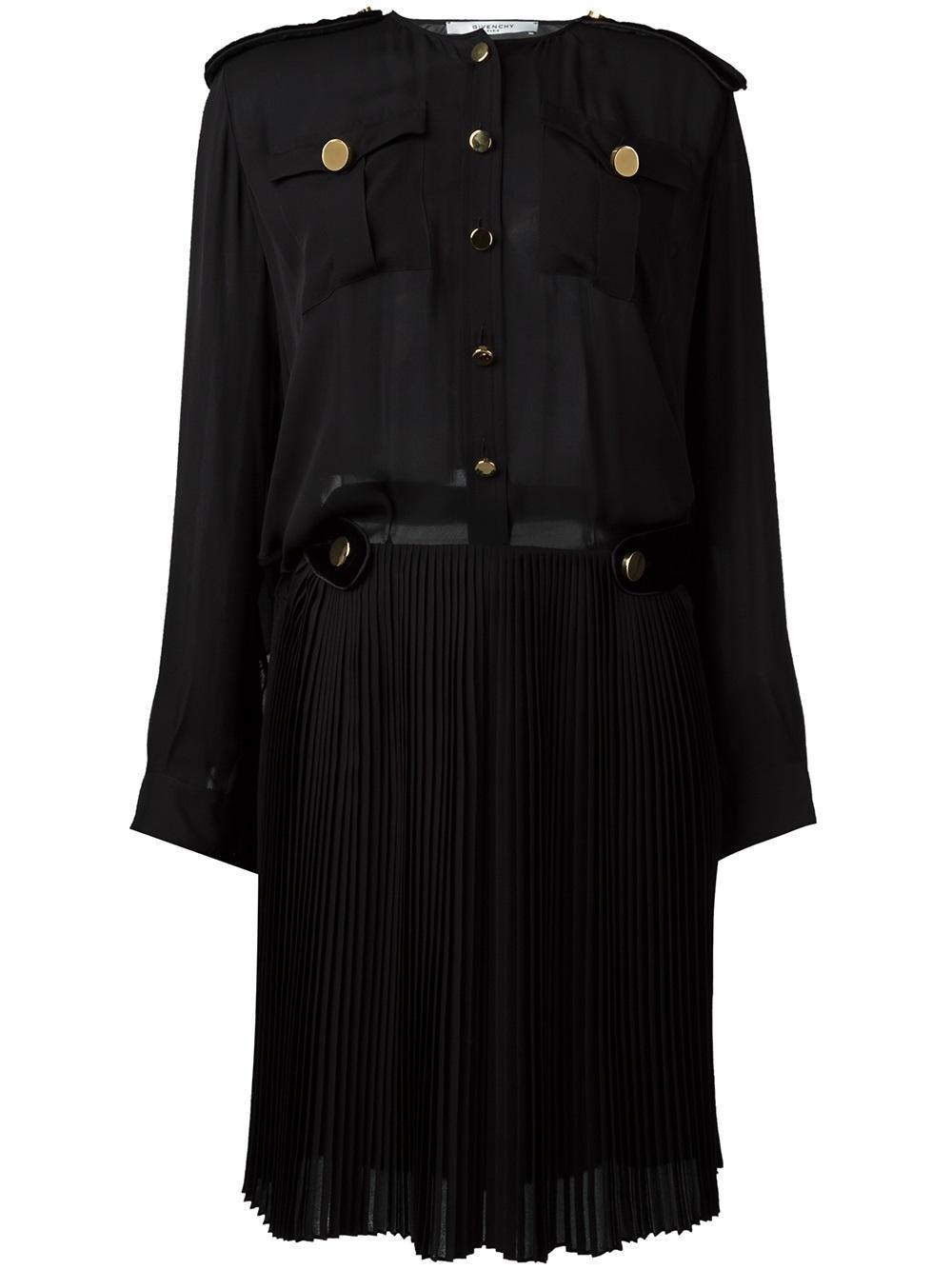Lyst givenchy pleated skirt shirt dress in black for Black pleated dress shirt