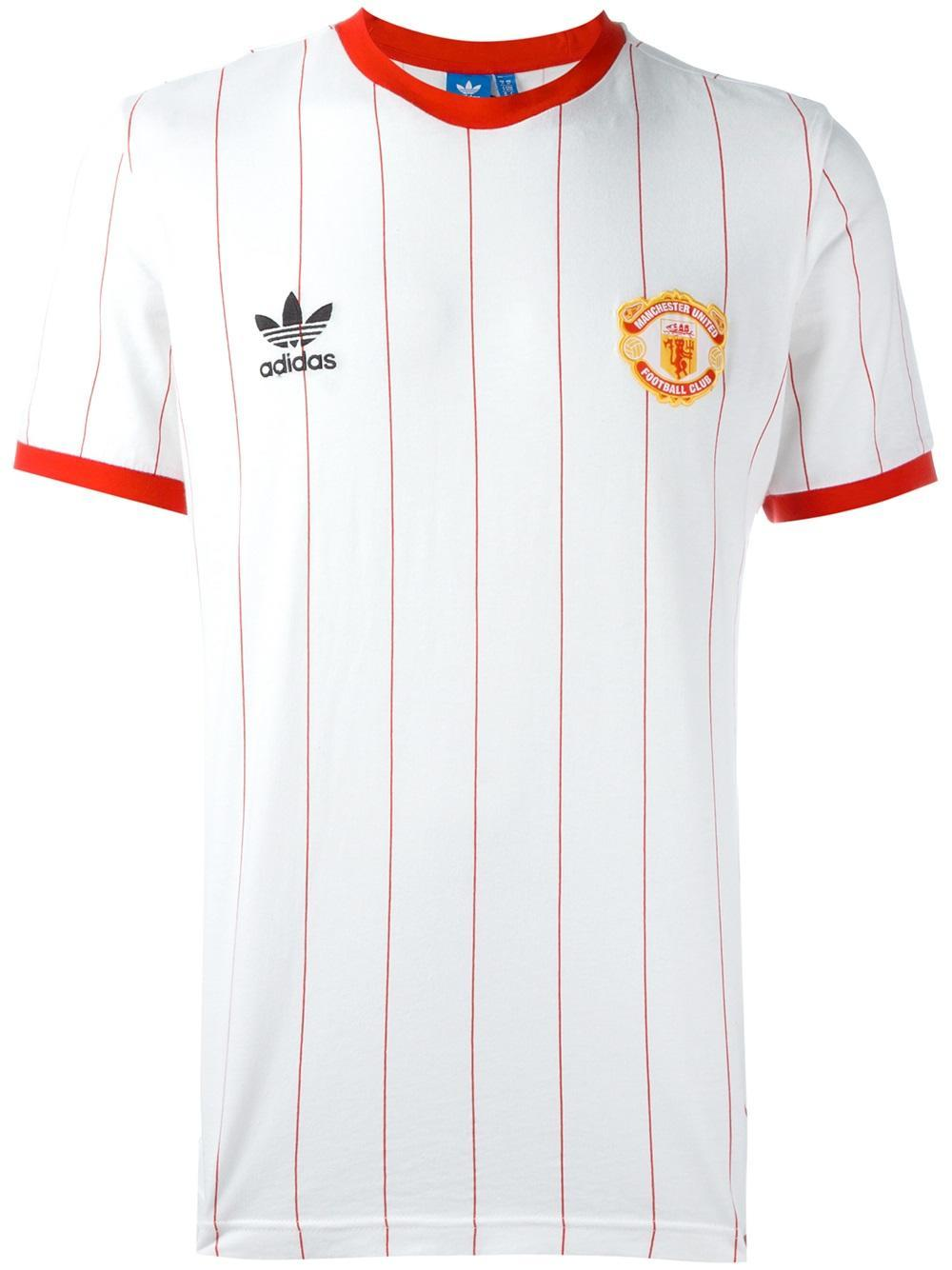 cheap for discount 5b5b9 ca74c Adidas Originals White Manchester United Fc Pinstripe Jersey T-shirt for men