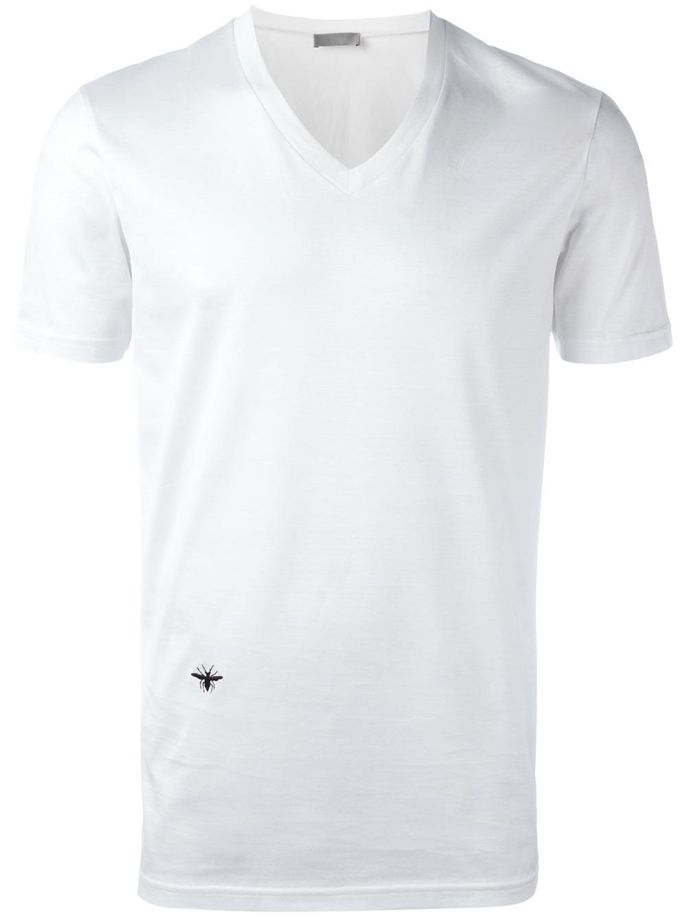 Dior homme v neck t shirt in white for men lyst for V neck white t shirts for men