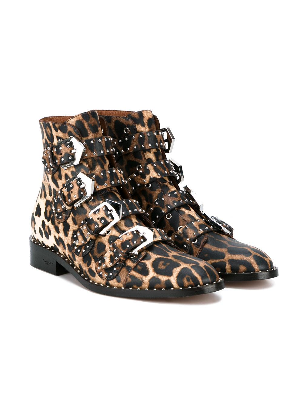 Givenchy Leather Leopard Print Boots In Black Lyst