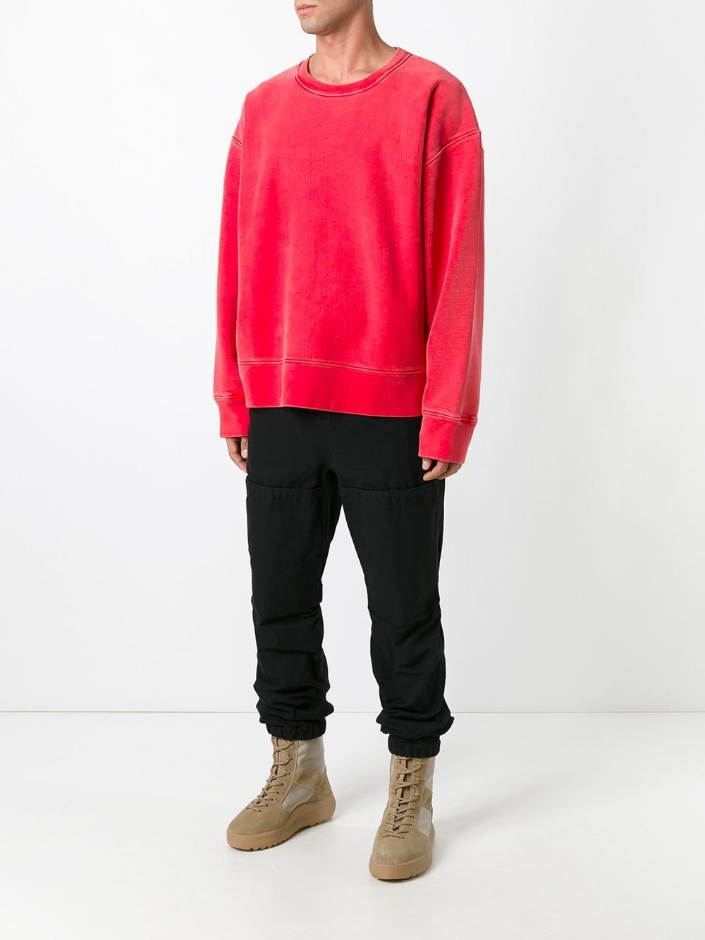 lyst yeezy season 3 crew neck sweatshirt in red. Black Bedroom Furniture Sets. Home Design Ideas