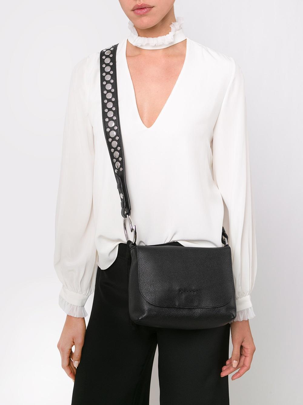 Elizabeth and James Suede Studded Strap Crossbody Bag in Black
