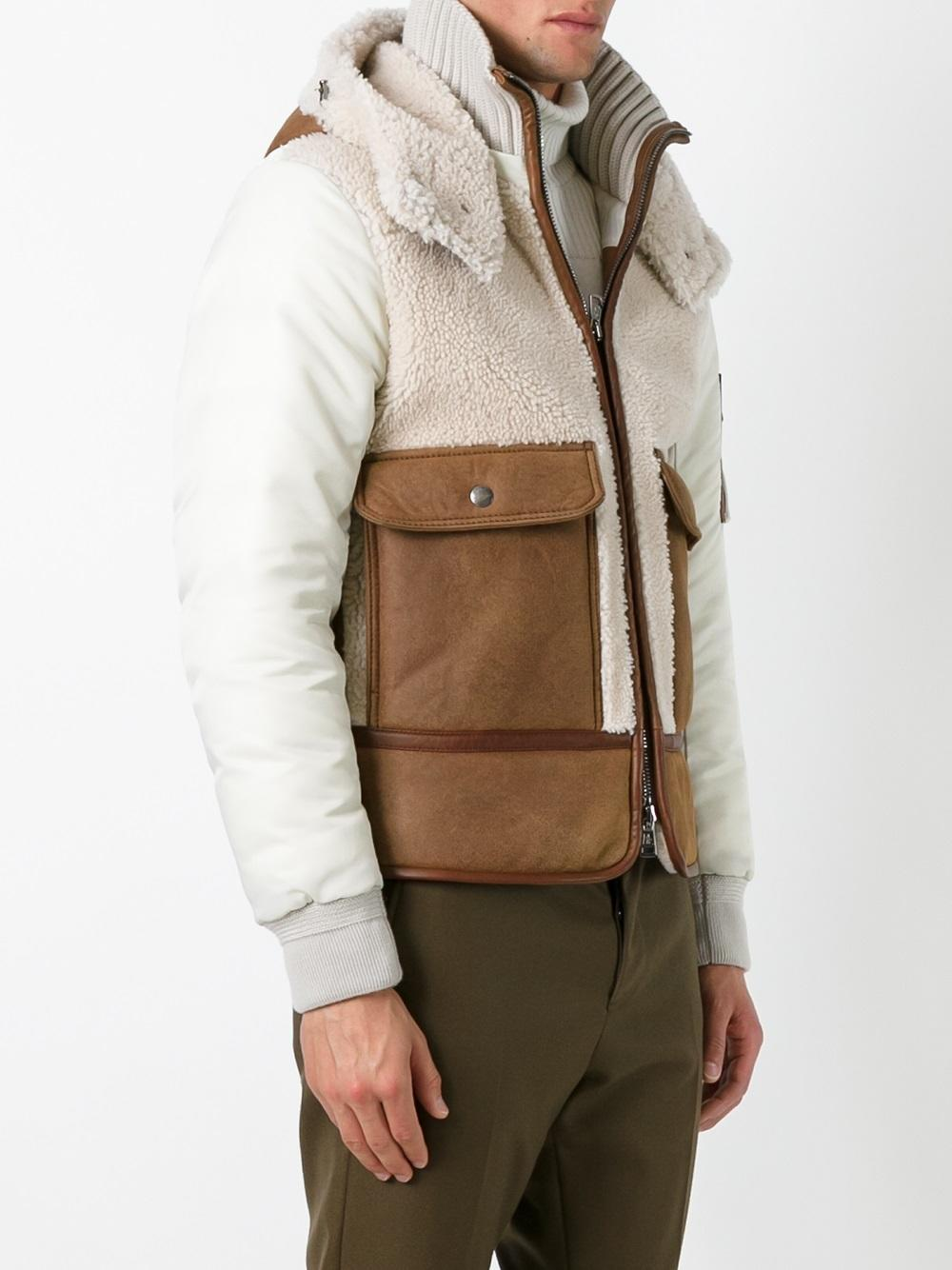 Moncler Hooeded Quilted Jacket in Brown for Men