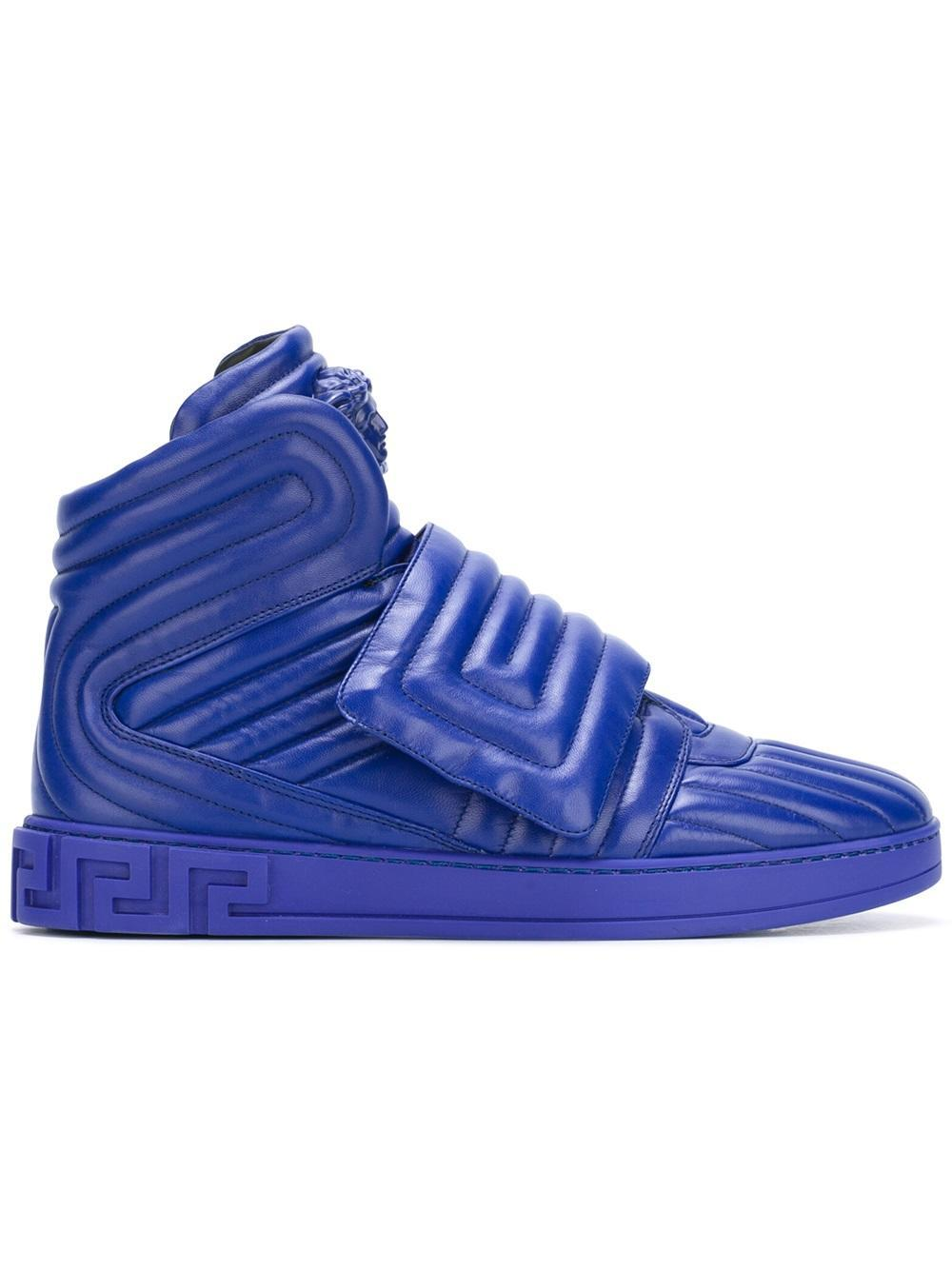 lyst versace palazzo medusa quilted hitop sneakers in