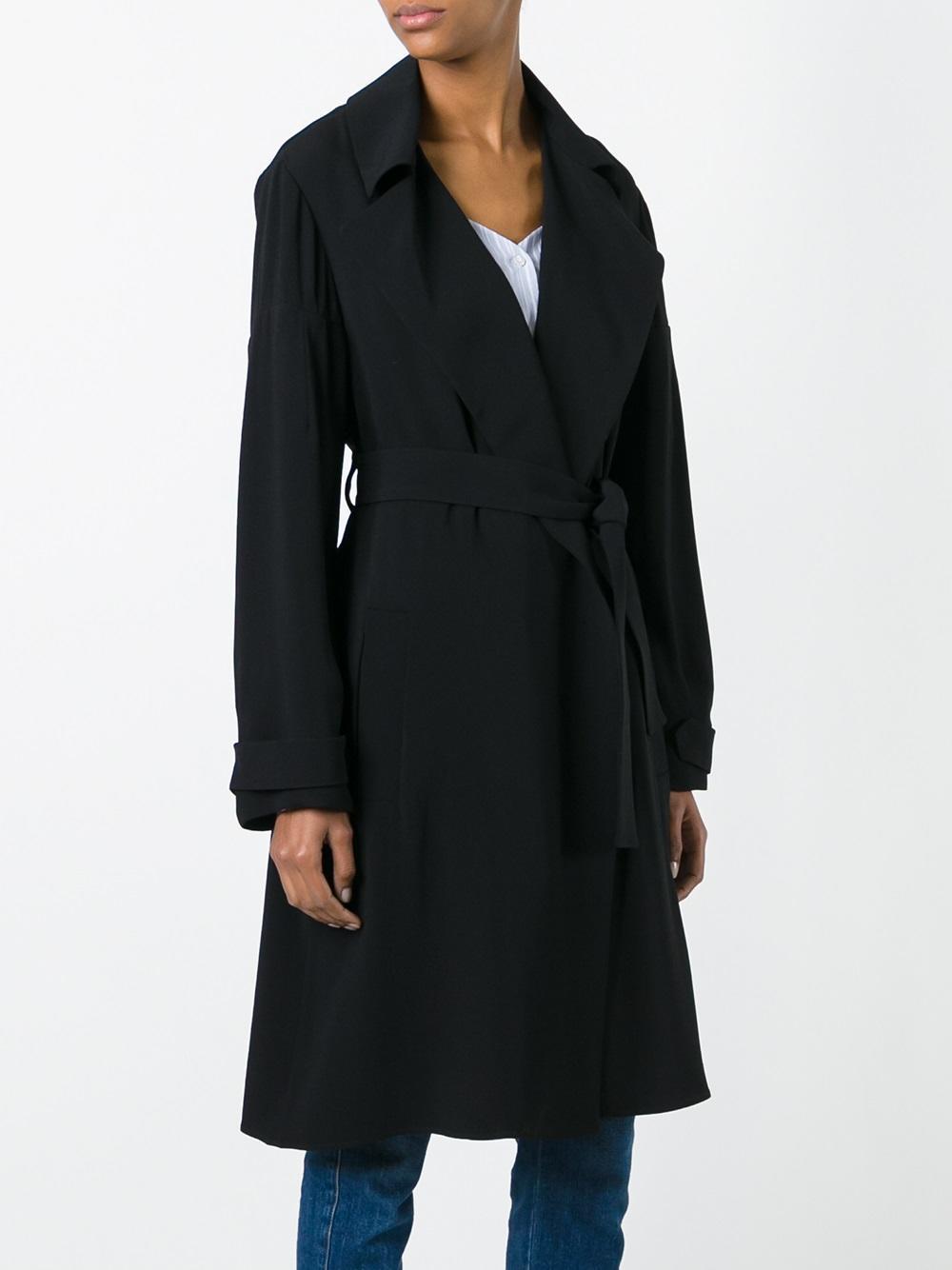 dorothee schumacher belted coat in black lyst. Black Bedroom Furniture Sets. Home Design Ideas