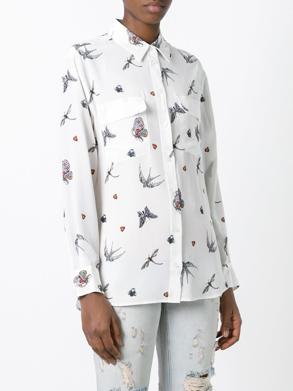 Lyst Equipment Bug Print Shirt in White