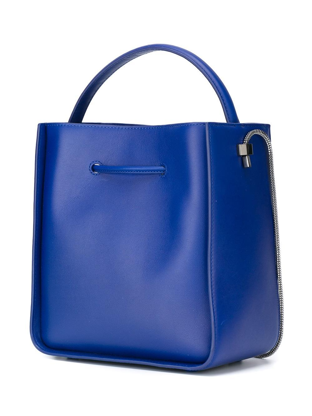 3.1 Phillip Lim Leather Small Soleil Bucket Tote in Blue