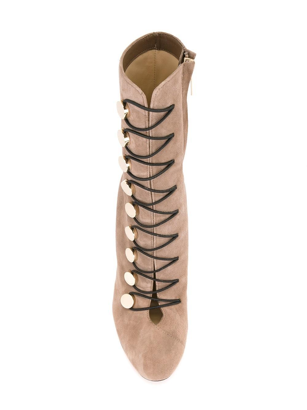 Jimmy Choo Leather Malta 100 Boots in Natural
