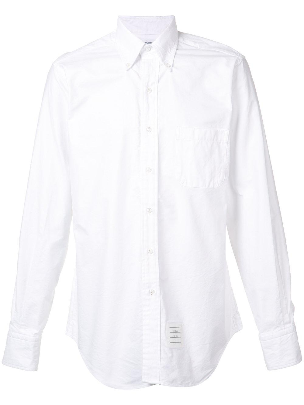 Thom browne stripe detail button down shirt in white for for Striped button down shirts for men