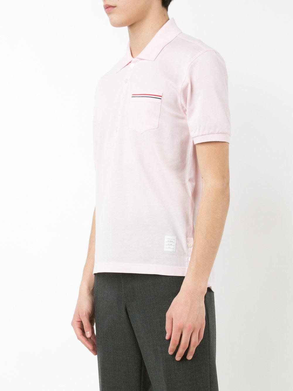 Thom browne chest pocket polo shirt men cotton 4 for Men s polo shirts with chest pocket