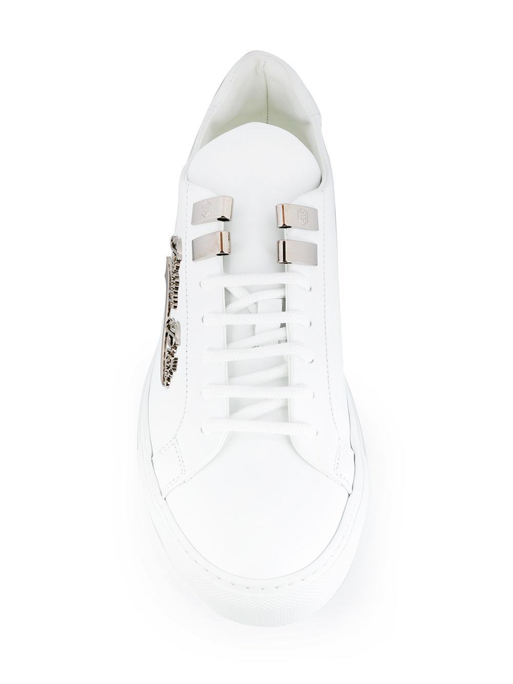 Philipp Plein Leather 'rams' Sneakers in White