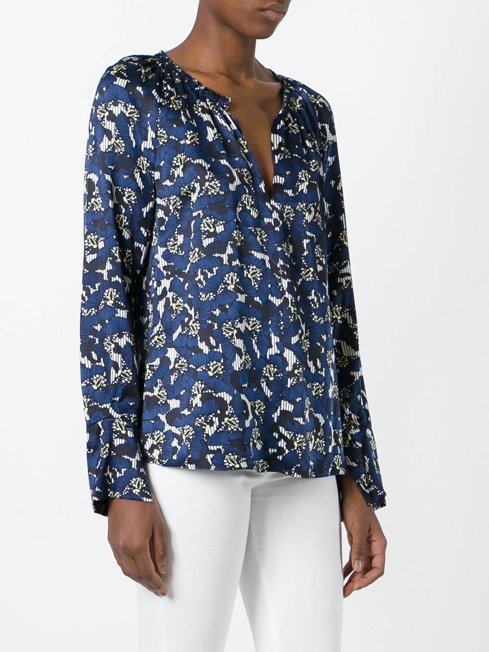 dorothee schumacher floral print blouse in blue lyst. Black Bedroom Furniture Sets. Home Design Ideas