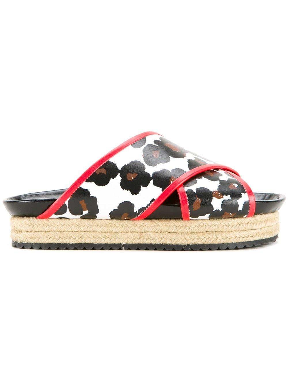 muveil leopard print platform sandals in white lyst