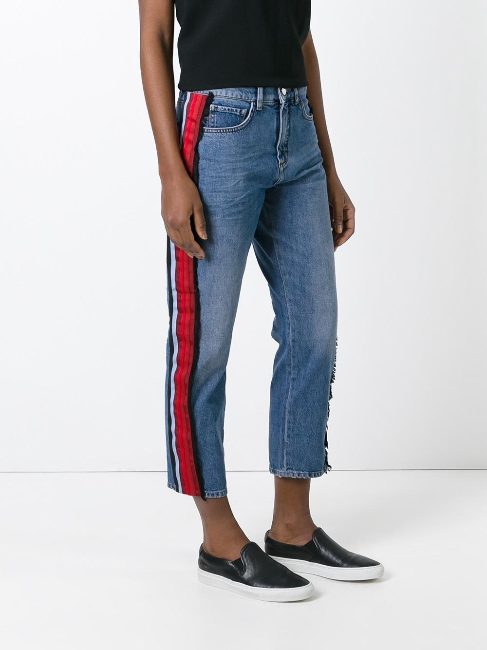 Victoria Victoria Beckham Side Stripe Jeans In Blue Lyst