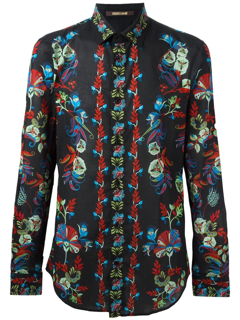 Lyst roberto cavalli floral print shirt in black for men for Printed shirts for men