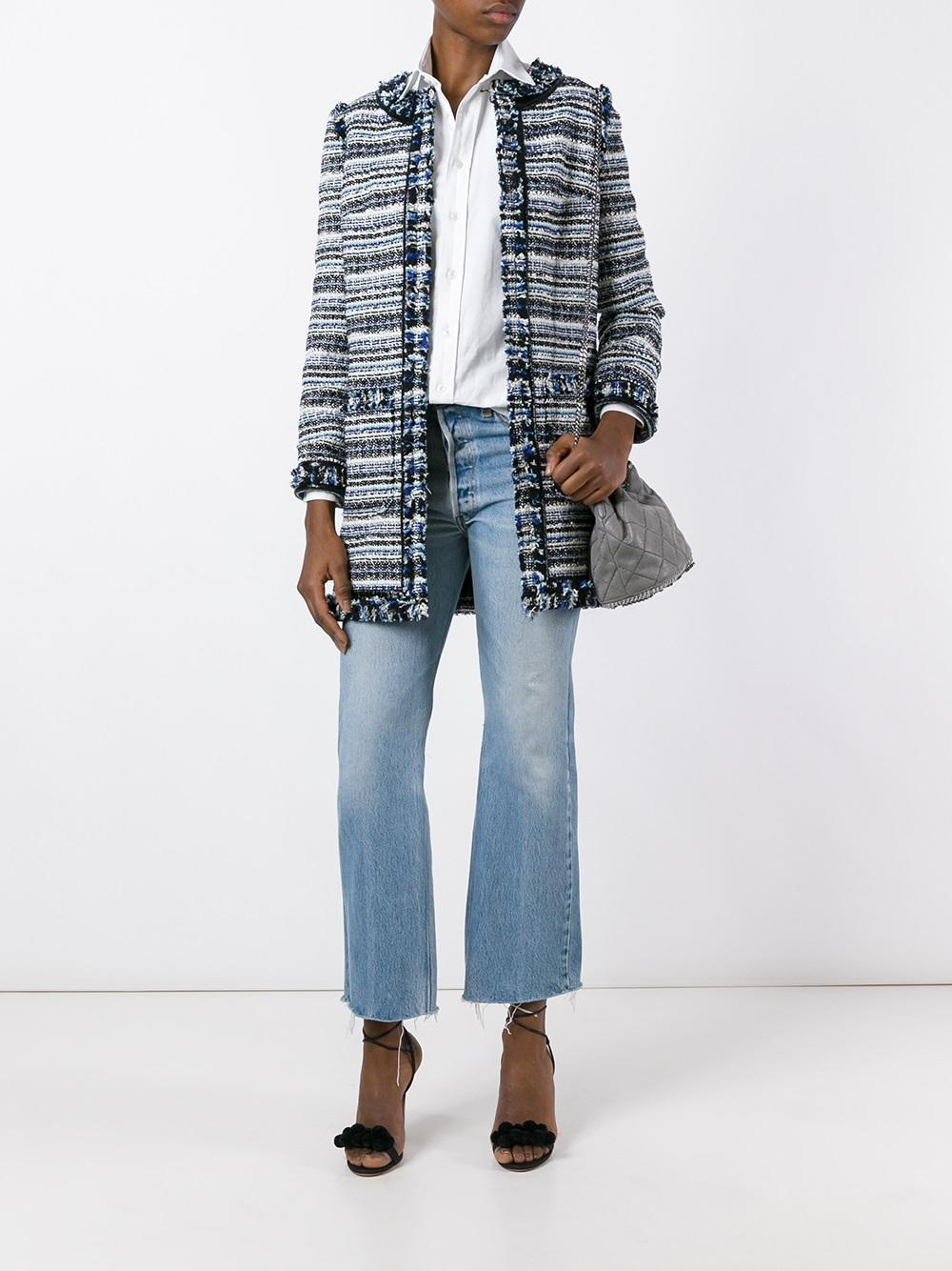 Lyst tory burch tweed coat in blue for Tory burch fashion island