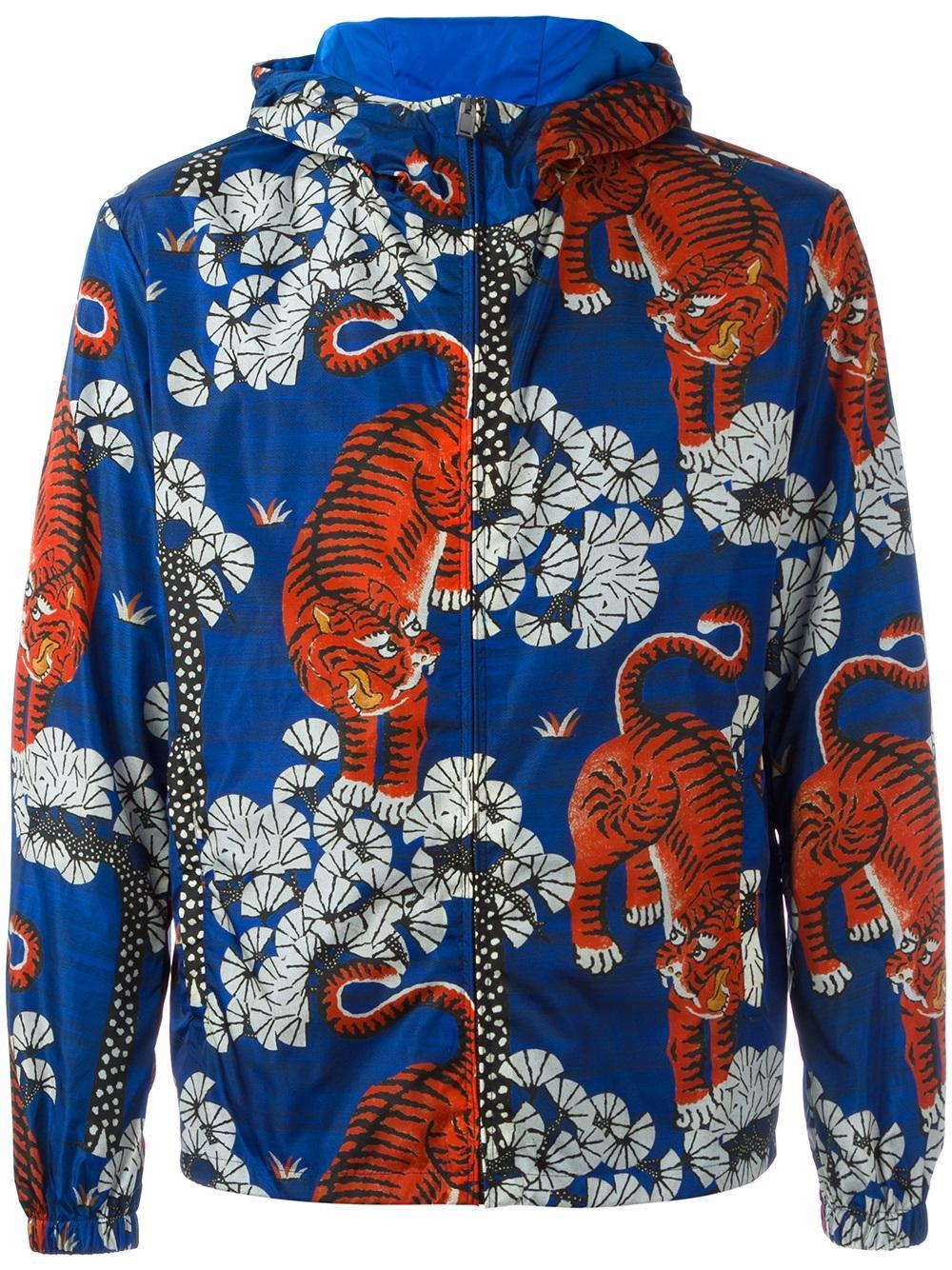 Gucci Bengal Tiger Print Jacket In Blue For Men Lyst