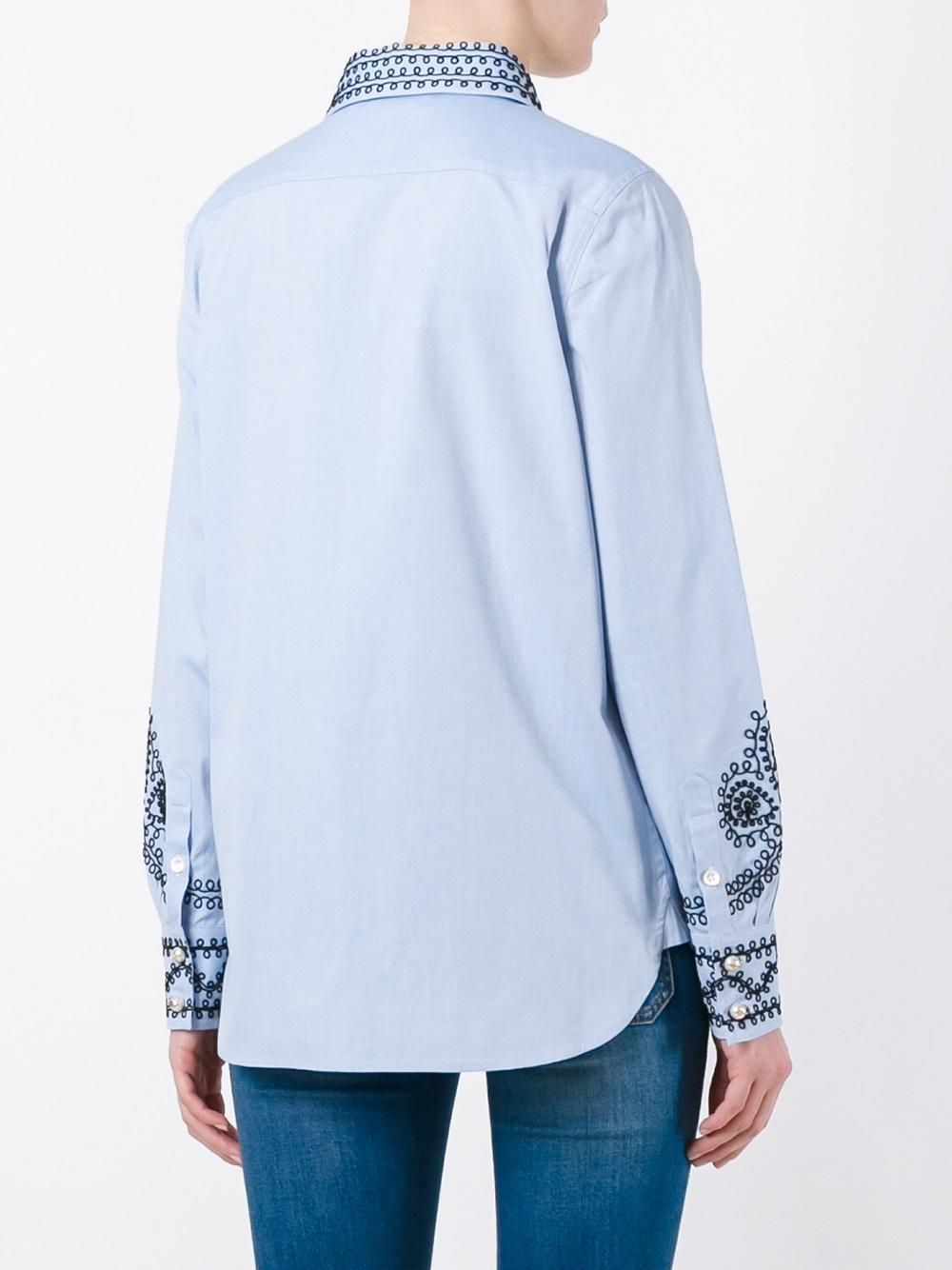 Lyst Tory Burch Embroidered Detail Shirt In Blue