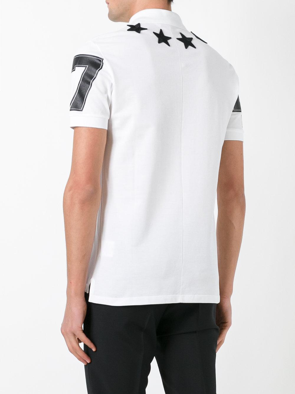 Lyst givenchy short sleeve star polo in white for men for Givenchy 5 star shirt