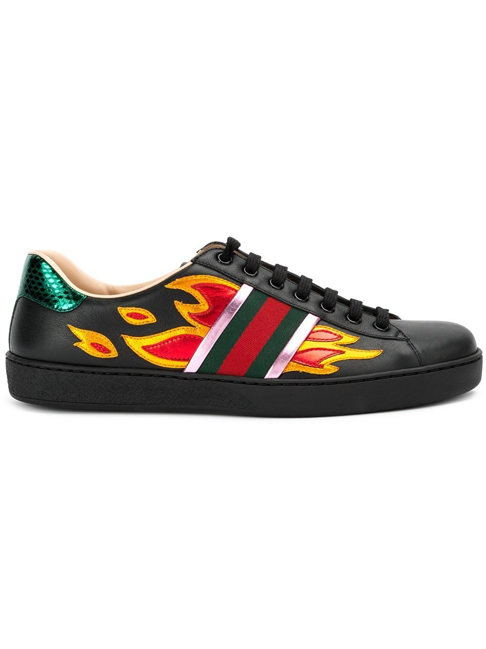 Gucci Leather Ace Flame Sneakers in