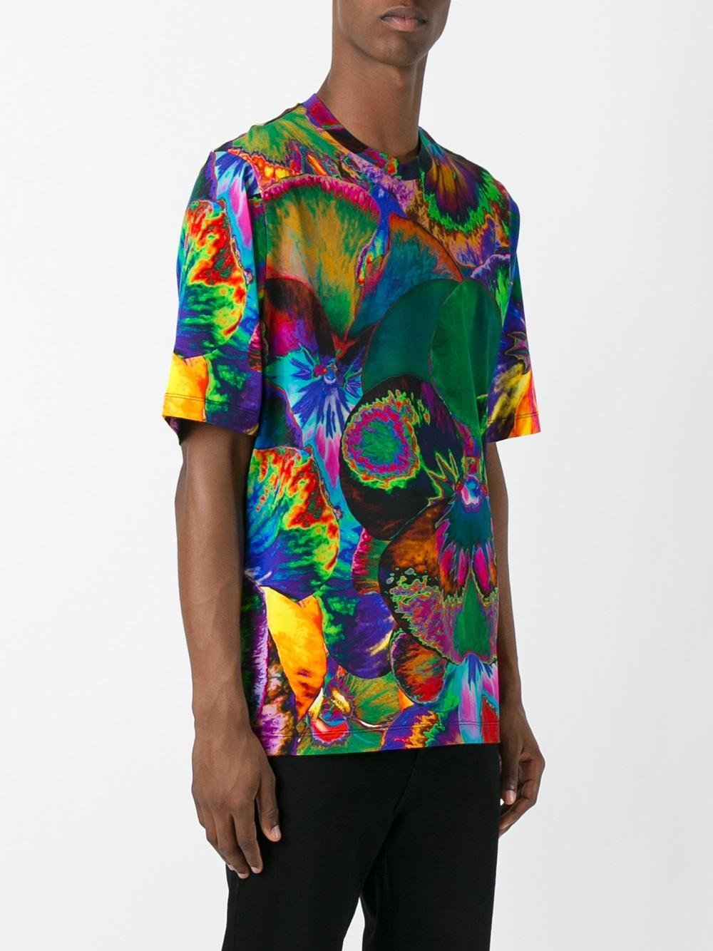 Lyst christopher kane pansy print t shirt in green for men for Sustainable t shirt printing