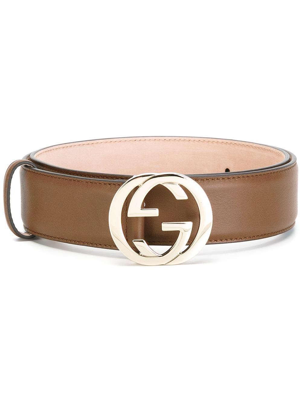 gucci gg buckle belt in brown lyst
