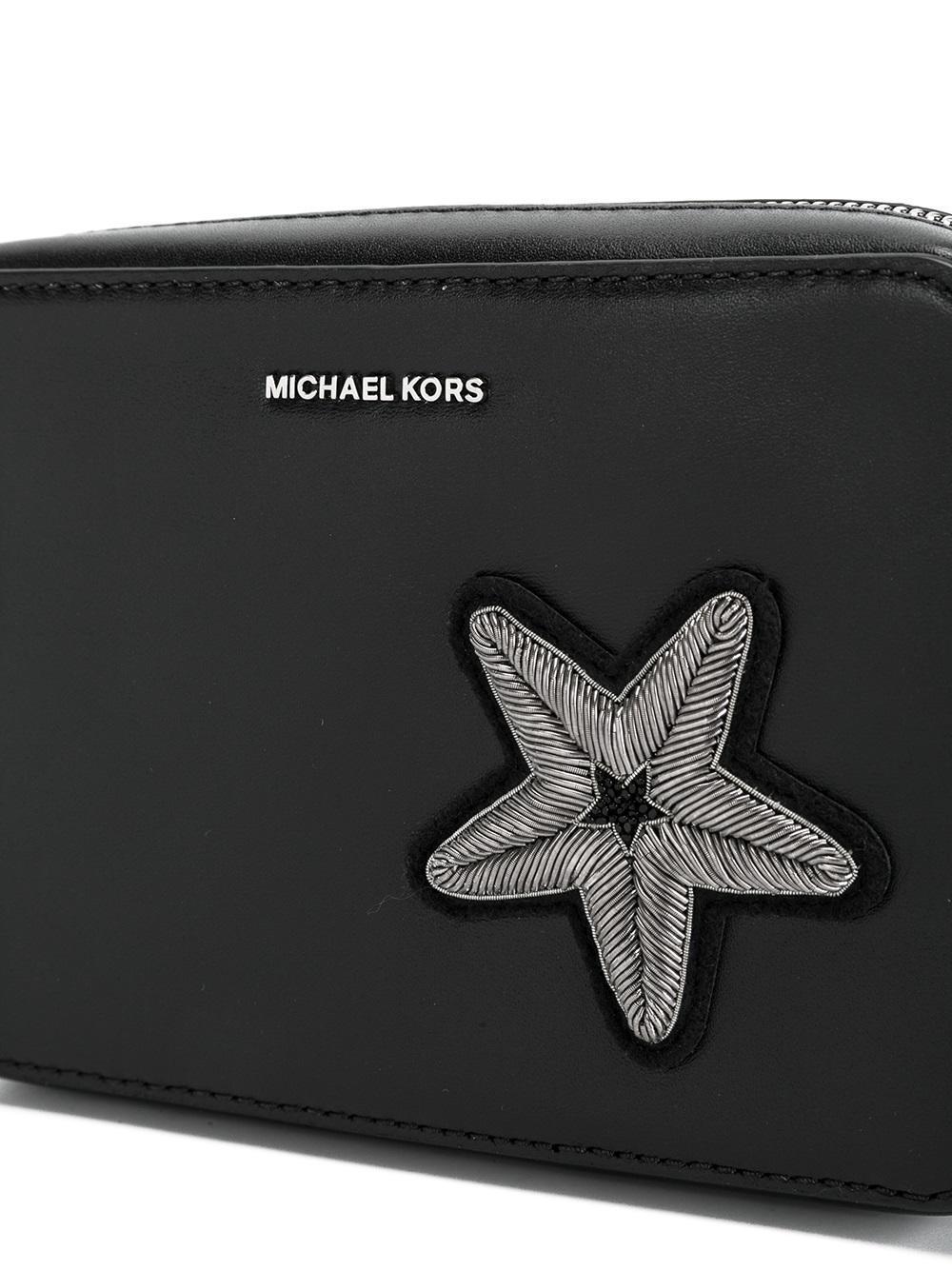MICHAEL Michael Kors Leather Medium Star Patch Crossbody Bag in Black